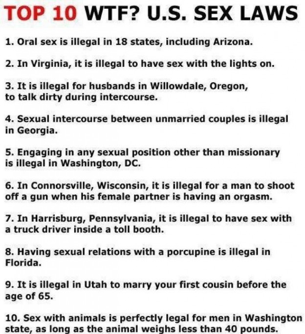 Top 10 WTF Sexlaws in the US